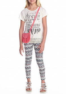 Belle du Jour 3-Piece 'Live For Today' Top, Printed Legging and Bag Set Girls 7-16