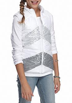 Belle du Jour Ombre Chevron Sequin Puffer Vest and Top 2-Piece Set Girls 7-16