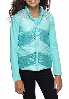 Belle du Jour Ombre Chevron Sequin Puffer Vest and Top 2-Piece Set Girls 7-16