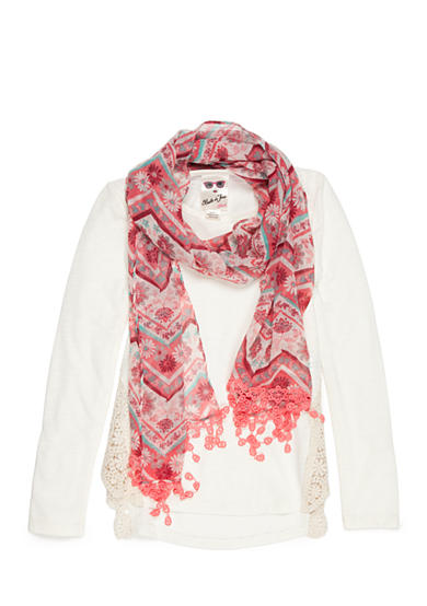 Belle du Jour Crochet Side Detail Top with Scarf Girls 7-16