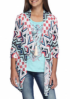 Belle du Jour Aztec Cardigan and Graphic Tank 2-Piece Set Girls 7-16