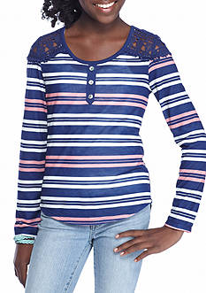 Belle du Jour Stripe Henley Top Girls 7-16