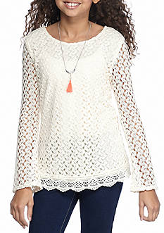 Belle du Jour Lace Bell Sleeve Top with Necklace Girls 7-16