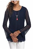 Belle du Jour Lace Bell Sleeve Top with Necklace