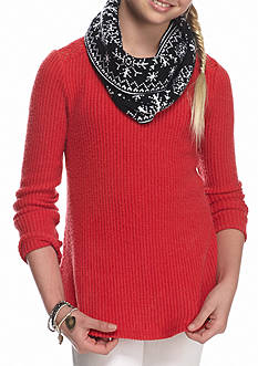 Self Esteem Thermal Top with Holiday Scarf Girls 7-16