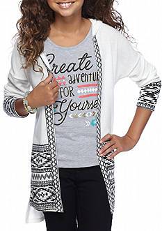 Belle du Jour Cardigan and Graphic Tank 2-Piece Set Girls 7-16