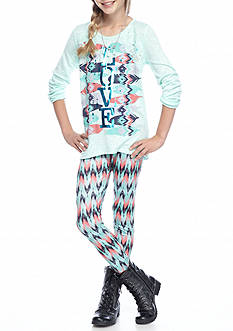 Belle du Jour Aztec Top and Legging 2-Piece Set Girls 7-16