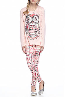 Belle du Jour Owl Top and Legging 2-Piece Set Girls 7-16