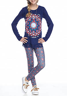 Belle du Jour Medallion Top and Legging 2-Piece Set Girls 7-16
