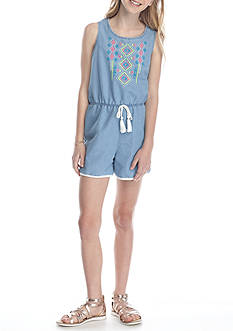 Belle du Jour Chambray Embroidered Romper Girls 7-16