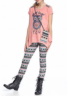 Belle du Jour 3-Piece Owl Top, Printed Legging And Bag Set Girls 7-16