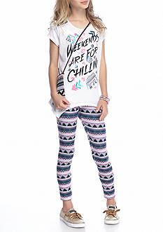 Belle du Jour 3-Piece 'Weekends' Top, Printed Legging And Bag Set Girls 7-16