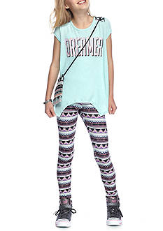 Belle du Jour 3-Piece 'Dreamer' Top, Printed Leggings And Bag Set Girls 7-16