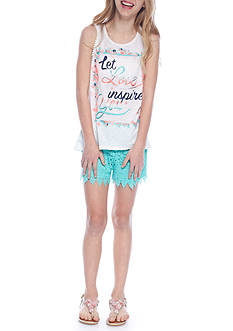 Belle du Jour 'Let Love Inspire You' Tank and Short 2-Piece Set Girls 7-16