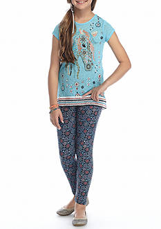 Belle du Jour Horse Graphic Top with Legging 2-Piece Set Girls 7-16