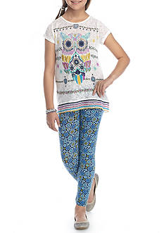 Belle du Jour Owl Graphic Top and Legging 2-Piece Set Girls 7-16