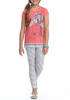Belle du Jour Elephant Graphic Top and Legging 2-Piece Set Girls 7-16