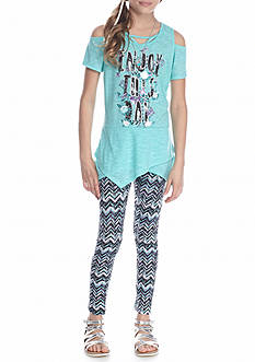 Belle du Jour 2-Piece Cold Shoulder Top And Printed Leggings With Necklace Set Girls 7-16