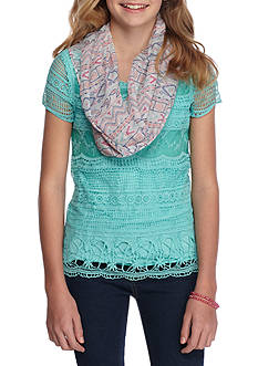 Belle du Jour Lace Front Top With Scarf Girls 7-16
