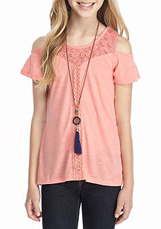 Belle du Jour Cold Shoulder Split Back Top Girls 7-16