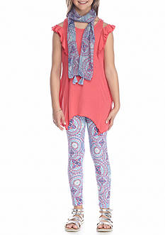 Belle du Jour 3-Piece Cold Shoulder Top, Paisley Print Scarf And Legging Set Girls 7-16