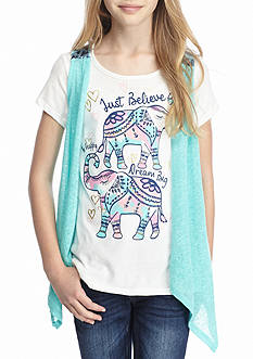 Belle du Jour Graphic Tee and Vest 2Fer Girls 7-16