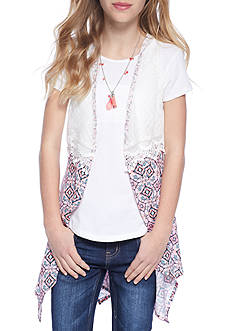 Belle du Jour Solid Top and Chiffon Lace Cozy 2fer Girls 7-16