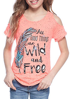 Belle du Jour 'All Good Things are Wild and Free' Cold Shoulder Tank Girls 7-16