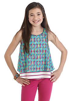 Red Camel Printed Chiffon Overlay Striped Tank Top Girls 7-16