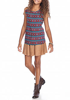 Red Camel 2-Piece Printed Top & Suede Skirt Set Girls 7-16