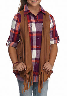 Red Camel Fringe Faux Suede Vest Girls 7-16