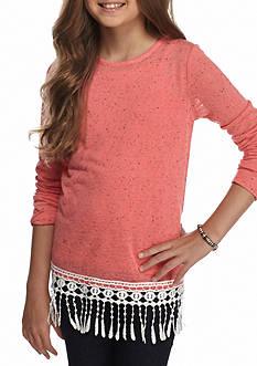 Red Camel Knit Top with Fringe Hem Girls 7-16