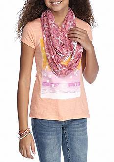 Red Camel Feather Heart Scarf Top Girls 7-16