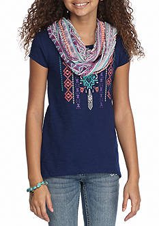 Red Camel Tribal Screen Scarf Top Girls 7-16