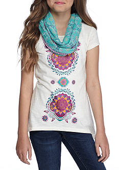 Red Camel Medallion Graphic Tee With Scarf Girls 7-16