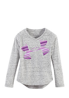 Under Armour Ash Blurred Stripe Logo Tee Girls 4-6x