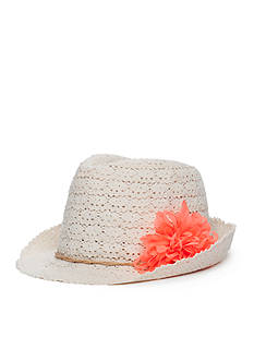 Capelli New York Crochet and Flower Trilby Hat Girls