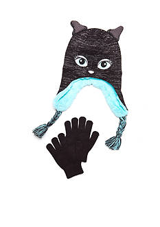 Capelli New York 2-Piece Knit Cat hat and Gloves Set Girls 4-6X
