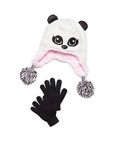 Capelli New York Pretty Panda Hat and Gloves Set Girls 4-6X