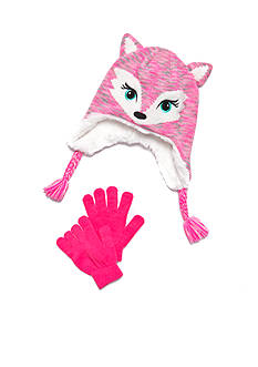 Capelli New York 2-Piece Fancy Fox Hat and Gloves Set Girls 4-6X