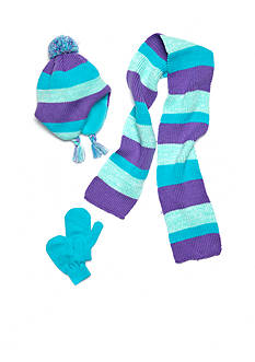 Capelli New York Striped Knit Hat, Gloves And Scarf Set Toddler Girls