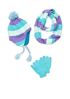 Capelli New York Striped Knit Hat, Gloves And Scarf Set Girls 7-16