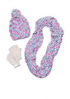 Capelli New York Knit Hat, Gloves And Scarf Set Girls 4-16
