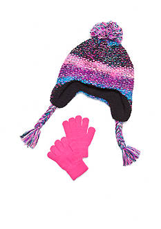 Capelli New York Striped Space Dye Hat and Gloves Set Girls 4-6X