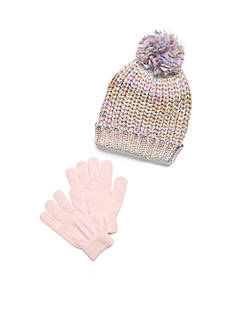 Capelli New York 2-Piece Space Dye Hat and Gloves Girls 4-6X