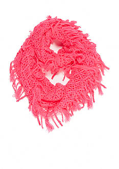 Capelli New York Sequined Knit Fringe Loop Scarf