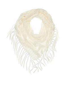 Capelli New York Diamond Knit Triangle Fringe Loop Scarf