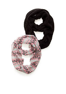 Capelli New York Timeless Tribal Printed Scarf and Solid Knit Loop Scarf 2-Piece Set
