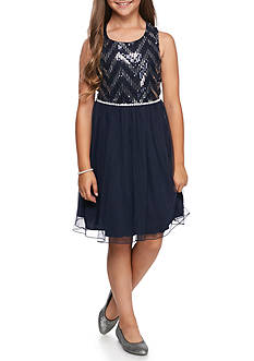 Speechless Navy Glitter Mesh Skirt Jewel Trim Dress