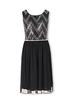 Speechless Plus Size Sleeveless Sequin Chevron Dress Girls 7-16 Plus